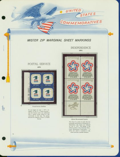 1971 USA MNH Scott# 1396, 1432 - Mr. Zip Blocks of 4 Stamps mounted on a White Ace Page - E2703
