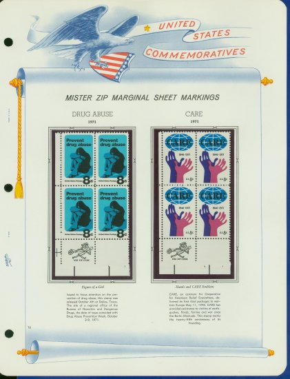 1971 USA MNH Scott# 1438, 1439 - Mr. Zip Blocks of 4 Stamps mounted on a White Ace Page - E2703