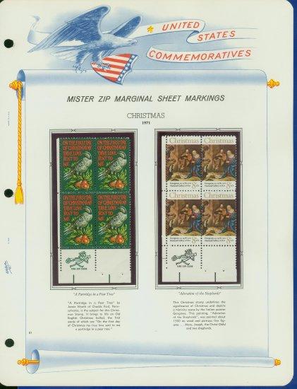 1971 USA MNH Scott# 1444, 1445 - Mr. Zip Blks of 4 Stamps mounted on a WA Pgs - Christmas -E2703