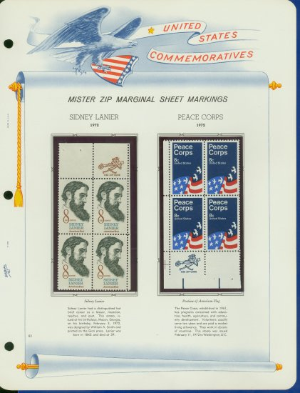 1972 USA MNH Scott# 1446, 1447 - Mr. Zip Blocks of 4 Stamps mounted on a White Ace Page - E2703