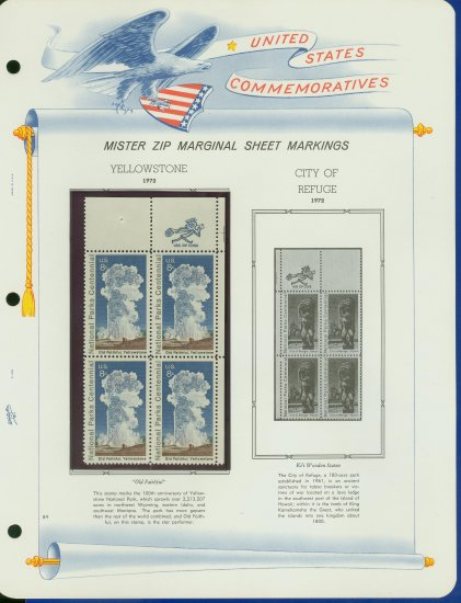 1972 USA MNH Scott# 1453 - Mr. Zip Block of Four Stamps mounted on a White Ace Page - E2703