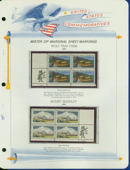 1972 USA MNH Scott# 1452, 1454 - Mr. Zip Blocks of 4 Stamps mounted on a White Ace Page - E2703