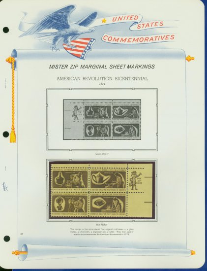 1972 USA MNH Scott# 1456 - 59 - Mr. Zip Blocks of 4 Stamps mounted on a White Ace Page - E2703