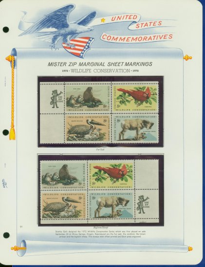 1972 USA MNH Sc# 1464 - 67 - Mr. Zip Blks of 4 Stamps mounted on WA Pgs � Conservation -E2703