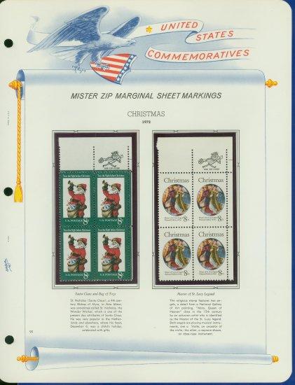 1972 USA MNH Scott# 1471, 1472 - Mr. Zip Blocks of 4 Stamps mounted on a White Ace Page - E2703