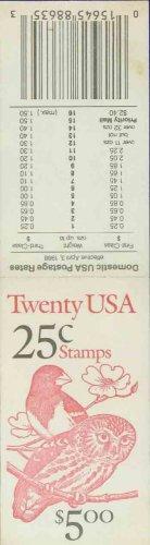 1987-88 USA UNUSED Scott# 2284-85 - 25c Grosbeak & Owl Partial Booklet of 4 stamps � E5997