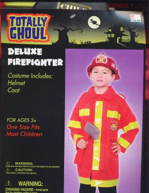 FIREFIGHTER & HELMET Halloween Costume One sz fits most