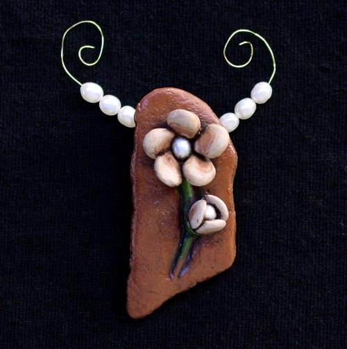 Potter's Shard I polymer clay and pearls focal bead
