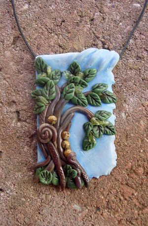 Summer Breeze polymer clay focal bead