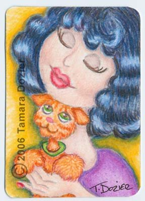 "ACEO print - ""Lolita loves kitty"""