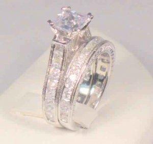 SZ 6 - 3 CT PRINCESS ANTIQUE WEDDING ENGAGEMENT RING SET