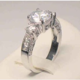 3.00 Ct Round Antique Vintage Style Anniversary Engagement Ring with Side Stones and FREE Sizing