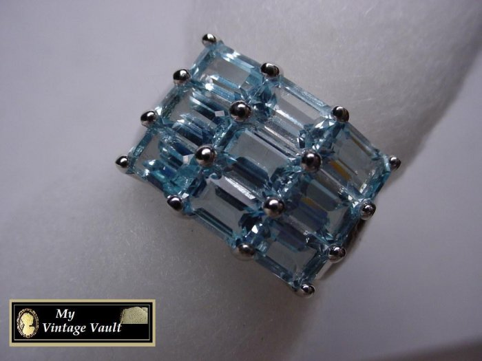 Large 4 ct Blue Topaz Sterling Silver Ring NIB
