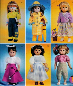 "OOP 18""  DOLL PATTERN DOROTHY OZ, SLICKER, POODLE SKIRT+ McCALL 4066 MINT UNCUT"