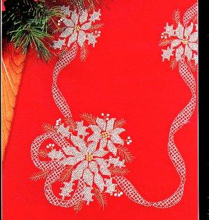 CROSS STITCH CHRISTMAS TABLERUNNER KIT WHITE POINSETTIA ON RED BUCILLA