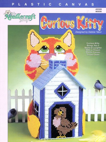 CURIOUS KITTY TISSUE COVER PROJECT NEEDLECRAFT SHOP PLASTIC CANVAS PATTERN OOP