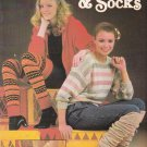 KNITTED LEG WARMERS & SOCKS LEISURE ARTS #223 FIVE DESIGNS TO KNIT
