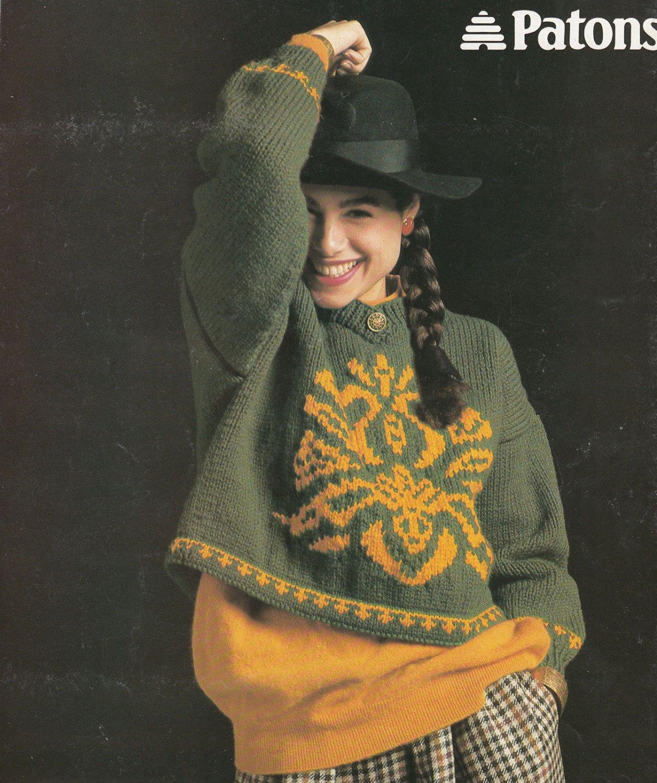 Patons Chunky Knitting Patterns : PATONS #525 BOLD & BEAUTIFUL CHUNKY KNIT PATTERNS BEAUTIFUL PULLOVERS 1989