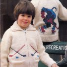 PICTURE KNITS KIDS BEEHIVE 427 CARDIGANS DOG HORSE HOCKEY PLAYER LION SKIER