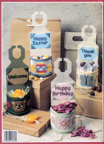 DOORKNOB BASKETS HOLIDAY PLASTIC CANVAS LEISURE ARTS 1648 DOOR KNOB
