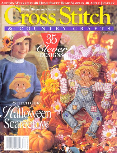 SCARECROW CROSS STITCH & COUNTRY SEPT.1995 HALLOWEEN CHRISTMAS GIFT IDEAS!