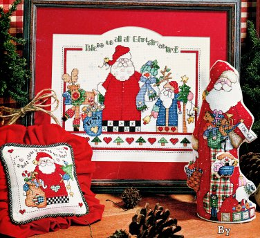 CROSS STITCH SANTA REINDEER SNOWMEN + ORNAMENT LEISURE ARTS 3093 SANTA & COMPANY
