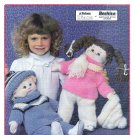 KNIT 2 SETS CABBAGE PATCH DOLL HATS SWEATERS PANTS SOFT SCULPT PATONS 1039