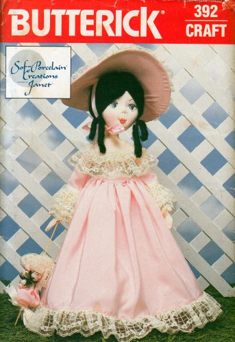 "19"" 'SOFT PORCELAIN' CLOTH DOLL & CLOTHES PARASOL PATTERN  UNCUT BUTTERICK 392 OOP"