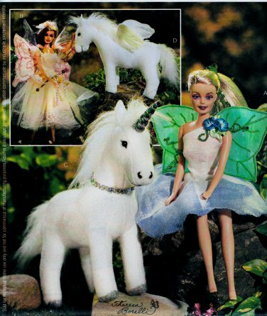 BARBIE 2 FAIRY COSTUMES DOLL PATTERN + UNICORN PEGASUS HORSE MINT MCCALL 3897 OOP