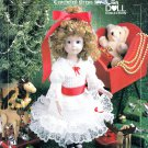 "MERRIE CHRISTMAS CROCHET & LACE 14"" DOLL DRESS PATTERN 8409 AMERICAN SCHOOL"