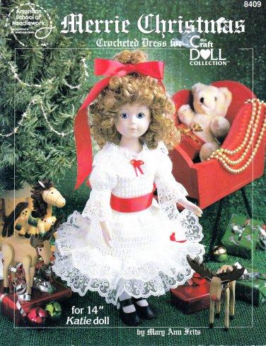 """MERRIE CHRISTMAS CROCHET & LACE 14"""" DOLL DRESS PATTERN 8409 AMERICAN SCHOOL"""