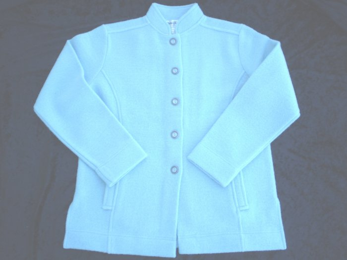 Norm & Thompson Blue Wool Boiled Jacket Cardigan NWOT S