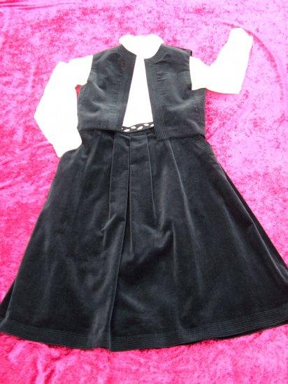 Vintage Women 70s Holiday Black Velvet Vest & Skirt S