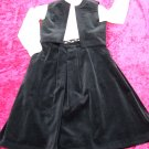 Vintage Women 70s Holiday Black Velvet Vest & Skirt S