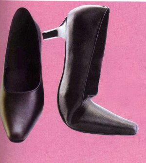 NLS-MAH Black Heeled Pointed Flexible Office Shoes