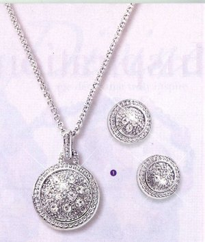 AA-RPN Silver Round Necklace and Earrings Set