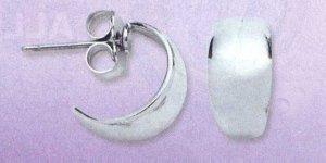 AA-SMH Silver Tone Semi Hoop Earrings