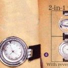 AA-2SW Reversible Silver Watch w/ Black Leather Strap