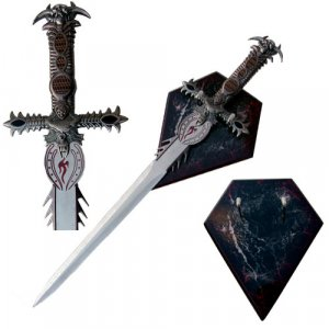 Fantasy Sword With Wall Wood Display Plaque.