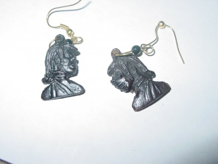 Handmade Carved Ebony Earrings