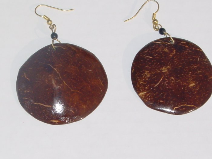Handmade Coconut Earrings- Round