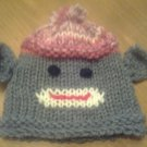 Custom Knit Sock Monkey Baby Hat