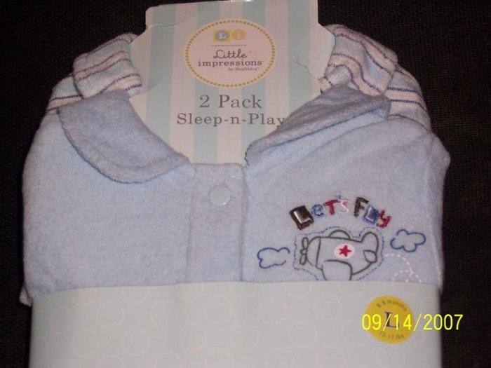 NIP 2pk Little Impressions Infant Boy Sleepers size 6-9 months L 13-17lbs