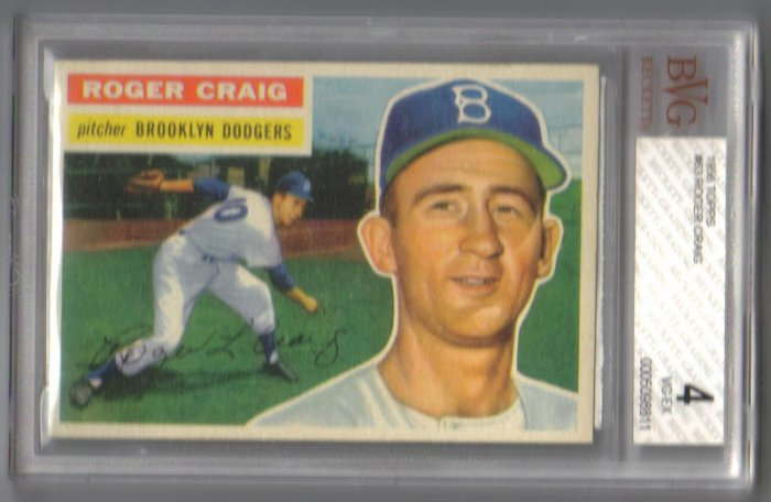 Roger Craig - Rookie Card - 1956 Topps #63 - BGS/BVG 4 VG-EX - Brooklyn Dodgers Pitcher