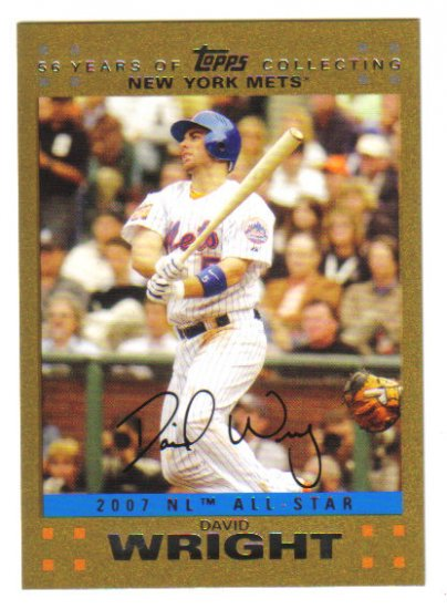 DAVID WRIGHT -  2007 Topps Update GOLD PARALLEL #d 0805/2007