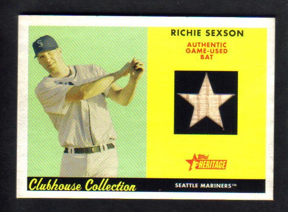 RICHIE SEXSON - 2007 Topps Heritage - Clubhouse Collection - Game-used Bat - #CC-RS
