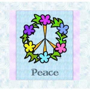 Peace Sign Flower Wreath Original Note Cards