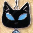 Lead Free Cat with Blue Eyes Pewter Pendant