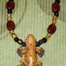 Ceramic Lizard with Glass Beads Necklace