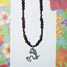 Silver Dragon Beaded Necklace